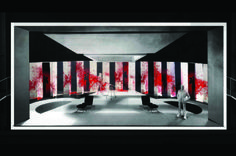 A rendering of a scenic design for American Psycho by 2016 Tony-nominated designers Es Devlin and Finn Ross.