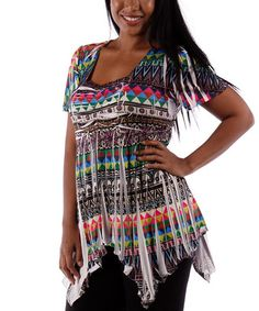 Look what I found on #zulily! White & Pink Tribal Sublimation Handkerchief Top - Plus #zulilyfinds