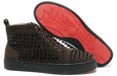 30c3501ffd3 Christian Louboutin Suede Coffee Brown Sneaker Black Spiked Studded  Sneakers