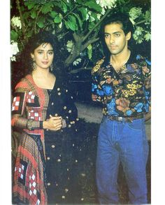 Image may contain: 2 people, people standing and outdoor Salman Khan Photo, Shahrukh Khan, Salman Khan Wallpapers, Bollywood Pictures, Girl Couple, Vintage Bollywood, Madhuri Dixit, Handsome Actors, Indian Movies