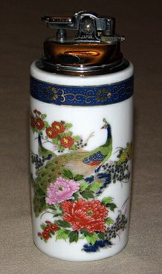 Vintage Ceramic Table Cigarette Lighter, Peacock Design, 5 Inches High, Made in Japan.