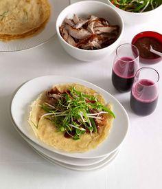 Australian Gourmet Traveller   Chinese roast duck with green onion pancakes.