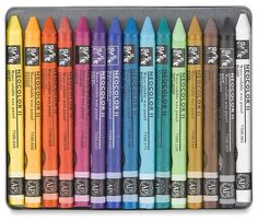 ahhh, Caron d'Ache water color crayons are the best - great for face painting - they wash off with water. Great sound good for facepainting play Wax Crayons, Color Crayons, Melted Crayons, Types Of Pencils, Colored Pencils, Prismacolor, Crayon Set, Caran D'ache, Palette