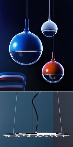Ikea's two LED pendant lamps - VASTER (first shot above), made from steel and acrylic, and KLOR, made from nickel-plated steel and polycarbonate