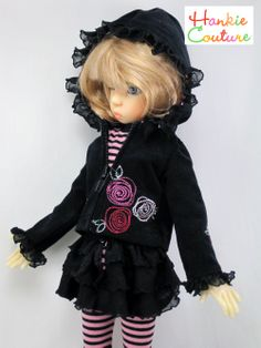 Jacket outfit for MSD-size dolls by Kaye Wiggs ♡ dolls Layla, Nyssa, Miki, Anabella ♡ http://hankiecouture.com ♡ #hankiecouture 2013