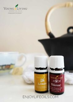 Wellness tea with Thieves and Lemon essential oils. Learn more about Young Living essential oils at @skimbaco and @enjoylifeoils