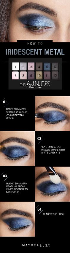 Late nights, city lights, and the perfect winter eye makeup that shines no matter which way you turn. To rock this iridescent metal eyeshadow look, grab the new Maybelline Rock Nudes palette and apply shimmery cobalt blue along your lid from the inner to outer corner, forming a subtle winged shape. Draw out the shape, making it a bit smoky with matte grey, then highlight and blend with shimmery pearl. Click for the full step-by-step!