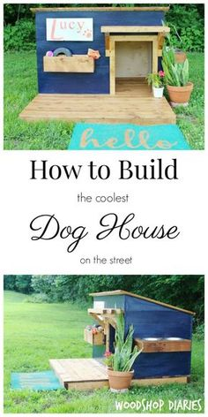 How to Build a Modern DIY Dog House--Doghouse with deck, food bowl tray and toy box--free plans and building tutorial