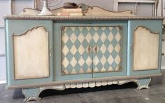 Refinished buffet in Duck Egg Blue and Old White by Deborah Waltz of Peinture Studios.