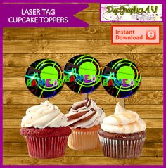 Laser Tag Printable Cupcake Birthday Toppers by DigiGraphics4u @etsy #laser #tag #invitation #water #bottle #label #thank #you #cupcake #printable