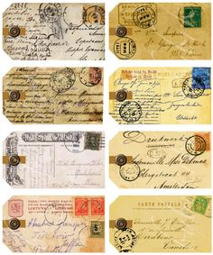 instant download of 8 antique postcard tags from around the world, printable download for paper crafts --  no. 159