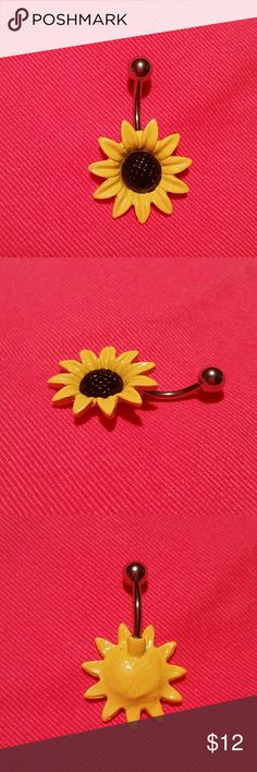 """Yellow Sunflower Navel Belly Ring Curved Barbell New, never used (as that is unsanitary, even when well cleaned) navel body jewelry.? Surgical steel, standard 14g 1/2"""" length curved barbell /banana barbell, with a beautiful enameled 3/4"""" yellow sun flower on the bottom.  More new body jewelry available in my closet!  Thank you for visiting, and happy poshing!! :)  SORRY, NO TRADES  BUNDLE & SAVE! Jewelry"""