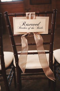 Reserve signs for family. I literally made these the day before the wedding… Diy Wedding Arbor, Outdoor Tent Wedding, Wedding Chairs, Wedding Seating, Diy Wedding Decorations, Wedding Ceremony, Wedding Ideas, Reserved Wedding Signs, Reserved Signs