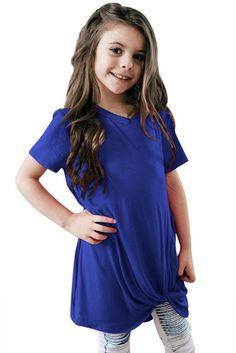 Girls Royal Blue Short Sleeve Tops