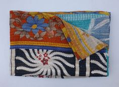 Indian Handmade Kantha Quilt Vintage Reversible Sari Kantha Throw