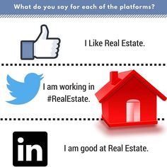 """Wondering how to market yourself as an agent on different social media platforms? Just a sneak peak of this cool infographic courtesy of @thegravylab. To see the whole thing, tap the link in our bio, then scroll to 'Who We Are"""" and """"Blogs"""". #infographic #socialmediamarketing #realestate #marketing #instagram #facebook #linkedin #realtor"""
