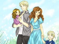 "Dramione ""Malfoy Family"" | HazelDragon66 deviantART (Left to right: Cassiopeia, Draco, Hermione, Scorpius <3 )"