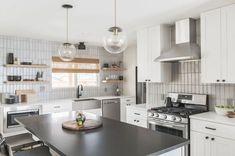Greyscale Glazed Thin Brick Backsplash   Fireclay Tile Fireclay Tile, Thin Brick, Brick Texture, Kitchen Backsplash, Flooring, Contemporary, Home Decor, Decoration Home, Room Decor