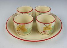RARE Crown Devon Pottery 4 EGGCUPS w/ TRAY English Porcelain Egg Cup Set Boiled