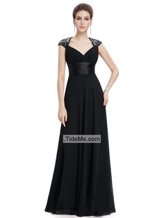 Black Chiffon Open Back A Line Sweep Train Fashion Long Prom Dress