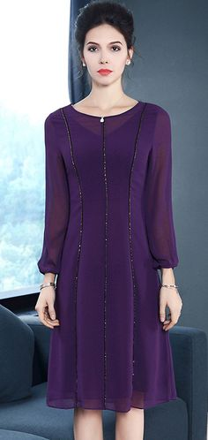 de02bf9948c Elegant O-Neck Long Sleeve Chiffon Skater Dress