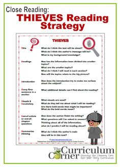 Close reading: THIEVES Reading Strategy anchor charts, graphic organizers & more!  ALL FREE!!! from www.thecurriculumcorner.com