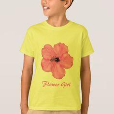Tropical Pink Hibiscus Wedding Flower Girl T-Shirt