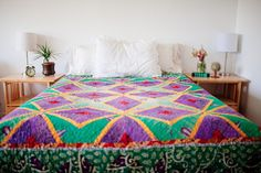 Sari Bari Quilt: Amethyst Diamonds #Handmade #Modern Auction ends May 9th