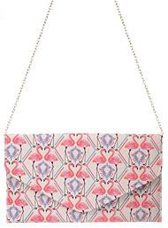 Flamingo Print Envelope Clutch Purse