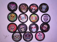 Day of The Dead  Bottle Cap Magnets - Stuff made by me....🐺