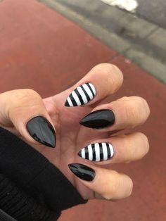 Black & White striped nails halloween nails