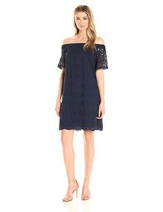 Maggy London Women's Geo Petal Lace Off the Shoulder Shift - Fully lined in polyester stretch lining No zipper