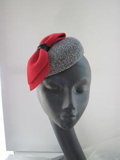 Womens Cocktail Hat Red Black Tweed Bow by MindYourBonce on Etsy, £65.00