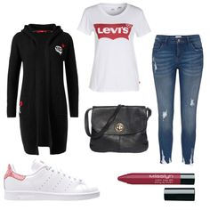 OneOutfitPerDay 2017-03-12 - #ootd #outfit #fashion #oneoutfitperday #fashionblogger #fashionbloggerde #frauenoutfit #herbstoutfit - Frauen Outfit Frühlings Outfit Outfit des Tages adidas Adidas Originals Aniston Handtasche Levi's Lippenstift Misslyn Party Pieces Red Röhrenjeans s.Oliver S.Oliver RED LABEL Schwarz Sneaker Strickmantel T-Shirt