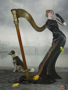 Harp - lady...interesting. Oh. And a dog.