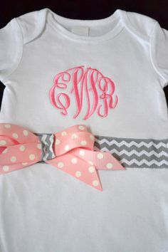 Personalized Bodysuit Onesie Baby Girls Toddler Monogrammed Applique Embroidery Personalized Custom Design Circle Monogram Chevron GR/PK on Etsy, $32.00