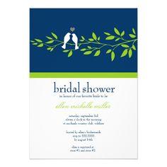 Love birds on Branches Garden Bridal Shower Custom Invitations