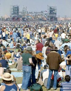 California Jam 1---Saturday April 6, 1974----40 years ago today, a crowd estimated at 200,000+ filled the in-field at the Ontario Motor Speedway for an all-day concert featuring Emerson Lake  Palmer, Deep Purple, Black Sabbath, Eagles, Seals  Crofts, Black Oak, Arkansas, Rare Earth, and Earth Wind  Fire. It was a great day!