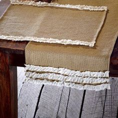 Burlap Placemats With Voile Ruffle Trim