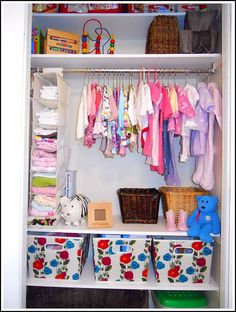 Nursery Closet and Dresser Organization Storing Baby Clothes, Baby Clothes Storage, Baby Storage, Diy Clothes, Nursery Dresser Organization, Room Organization, Clothing Organization, Wardrobe Organisation, Kid Closet