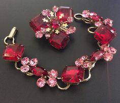 HI QUALITY Vintage Set Brooch Pin Bracelet Red Pink Glass Rhinestone Chunky F024 | Jewelry & Watches, Vintage & Antique Jewelry, Costume | eBay!