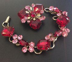 HI QUALITY Vintage Set Brooch Pin Bracelet Red Pink Glass Rhinestone Chunky F024 | eBay