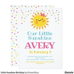 Invitación Little Sunshine Birthday Sunshine Birthday Parties, First Birthday Parties, First Birthdays, First Birthday Invitations, Reno, White Envelopes, Paper, Cards, Card Designs