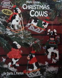 Plastic Canvas Christmas Patterns/ Christmas Cows by Darla J. Fanton/ Tree Ornaments, tissue box cover, centerpiece, doorstop by RedWickerBasket on Etsy