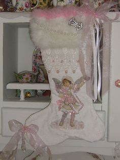 Gorgeous Vintage Christmas Stocking made by Cathy Scalise of Treasured Heirlooms