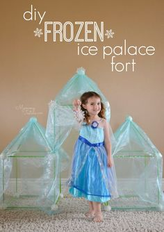 LOVE!!!! FROZEN DIY Ice Palace ? The perfect fort for a FROZEN loving child and they can even watch the movie from inside since it's transparent! #DisneyFrozen