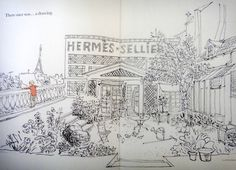 The Garden Statement    Drawing view of the private Hermes winter garden on the roof top of the Paris flagship store !    The Fashion Art Statement by Jennifer Cuvillier