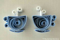 DIY - Tee/Kaffeetasse Quilling - - - - - - Quilled Tea Cups via Etsy (Shoppause) - would be cute as dangly earrings. Arte Quilling, Paper Quilling Patterns, Origami And Quilling, Quilled Paper Art, Quilling Paper Craft, Paper Beads, Paper Crafts, Quilling Ideas, Oragami