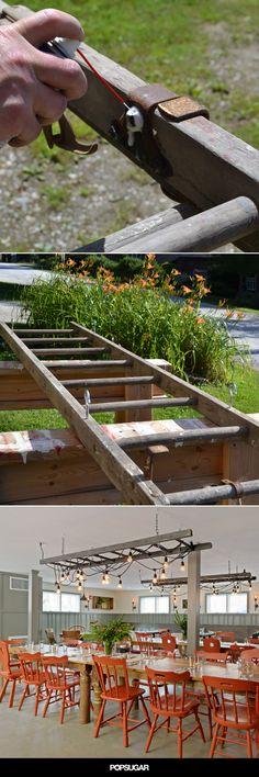52 Ideas Old Wood Ladder Decor Patio Old Wood Ladder, Old Ladder Decor, Retro Lampe, Outdoor Lighting, Outdoor Decor, Backyard, Patio, Deck Pergola, Custom Window Treatments