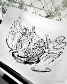 I want to tattoo my hands I cook heart and brain – Tattoo Sketches & Tattoo Drawings Dark Art Drawings, Pencil Art Drawings, Art Drawings Sketches, Tattoo Sketches, Cool Drawings, Ink Illustrations, Kunst Tattoos, Body Art Tattoos, Cool Tattoos